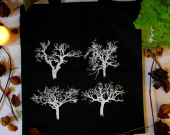 tree silkscreen tote bag, canvas tote bag, book bag, grocery bag, artisanal print, silkscreen, screen print