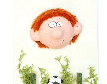 Reminder to hang, child with football, humorous head embossed, gift for boy