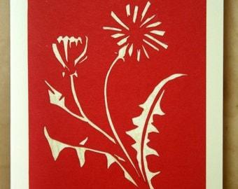 Paper Cut Dandelion Card Red