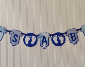 It's A Boy Banner - Baby shower banner, Baby reveal, welcome home banner - Made & ready to ship