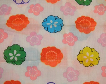 192: Vintage girl's kimono/light woolen fabric/colorful/Japanese apricot/ume/flower/handmade/material/japan