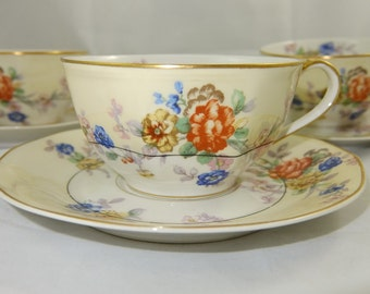 Theodore Haviland, Limoges France, Jewel Pattern, 6 Available, Cup and Saucer, White and Ivory, Colorful Flowers Gold Trim, Octagonal, 1936