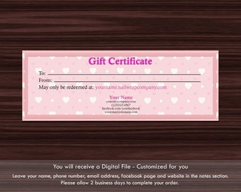 Gift Certificate | Nail Wrap | Hearts | Horizontal
