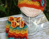 Crochet Rainbow Baby Hat and Leg Warmers with Heart Bows, Baby Cap, Newborn Gift, Newborn Hat and Leg Warmers, Caron Cakes, Photo Prop