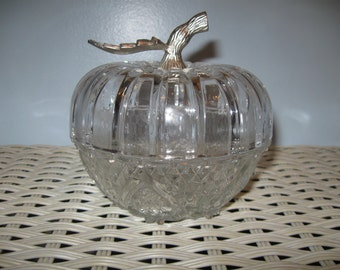 Glass Pumpkin Candy Dish
