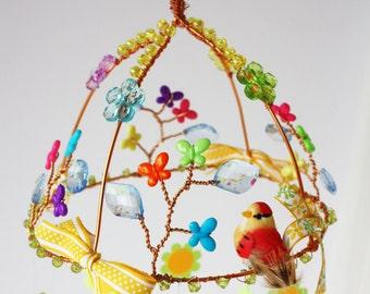 Spring Garden Mobile, nature mobile, baby mobile, nursery mobile, fairy mobile, boho, gypsy, home decor, baby shower gift