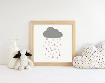 Rain Cloud Art, Wall Art For Little Girl, Girls Room Artwork, Kids Art Prints, Baby Girl Art, Nursery Wall Decor, Pink Grey Art, Nursery Art