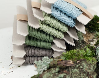 """Cotton cord 3mm, """"Forest moss"""" collection, 10 meters - 10,9 yards or 32,8 feet, 4 colours available"""