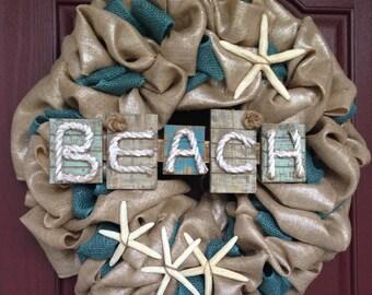Summer Wreath, Burlap Wreath Summer, Beach Wreath, Beach Burlap Wreath, Burlap Wreath, Summer Burlap, Bularp wreath blue, Starfish Wreath