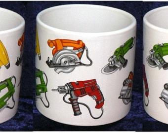 1 pint mug with Tools power tools design different tools all around mug