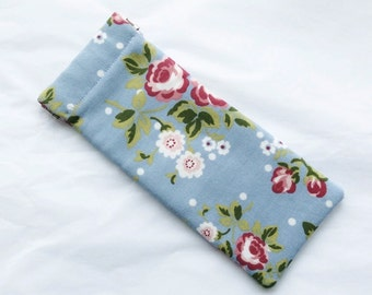 Soft Glasses Case - Blue Floral Sunglasses Case/ Vintage / Shabby Chic Glasses Case - Gift for Her