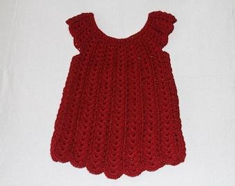 Crochet Baby Dress,  18 Months,  Baby Dress, Crocheted Baby Dress
