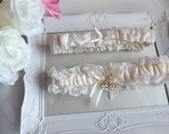 Bridal Garter Set, Ivory Garters, Lace Garters, Satin Garter, Wedding Garter Set, Ivory Satin Garter - PRINCESS garter, Silk Garter