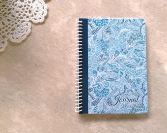 """Blank Journal / Ruled Notebook ~ Teal Blue Paisley ~ by Upward Journals (5"""" x 7"""") ~ Spiral / Coil Bound"""