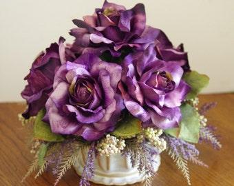 Silk Flower Arrangement,  Purple Roses and cream berries in ceramic bowl