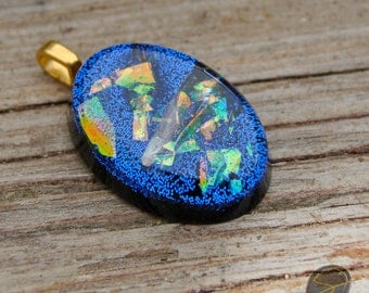Resin pendants: resin jewelry, resin necklace, dichroic glass look-a-like