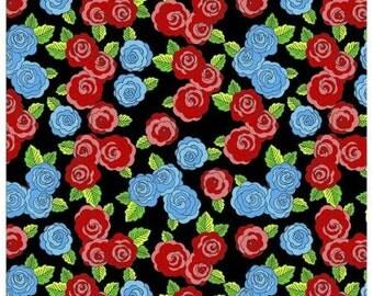 Folk Frida Fabric, Frida's Damask On Red fabric, Mexican Folk Art Fabric, Mexican Folklore 100% Cotton Fabric