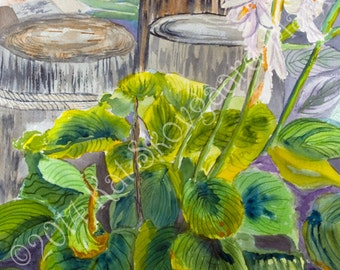 Limited Edition, Maryland Chesapeake Plantain Lillies on the Beach Boardwalk, Floral Watercolor Giclee Print for interior design wall art,
