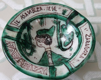 PUNTER Domingo // Céramiste d'art 1960 //Rare Vide poches // Céramique espagnole / Asamblea Zaragoza / diamètre 15.5cm / Vp160410