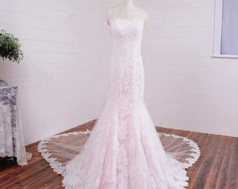 Pink Lace Strapless Wedding Dress Vintage Style
