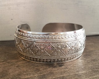 Tribal Cuff Bracelet Bohemian Bracelet Boho Bracelet Silver Cuff Bracelet Adjustable Bracelet