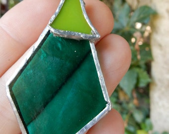 Teal and lime green stained glass pendant with silver solder finish