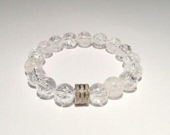 Crystal Quartz gemstone and 0.66 carat pave diamond bracelet