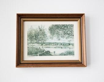 Vintage Landscape Art Print, Impressionist