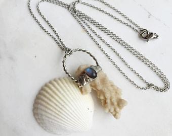 Brown Coral & Labradorite Mermaid Necklace