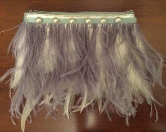 Grey Ostrich Feather Clutch