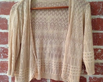 Loose stitch, off-white, stretchy cardigan