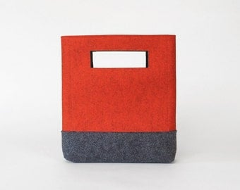 Wool Felt Handbag in Orange and Charcoal Grey | Felt Bag | Cutout Handbag