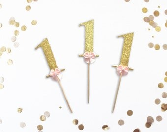 Glitter Number Cupcake Toppers with Pink Bow, Number Cupcake Toppers,