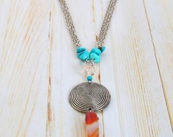 Necklace Boho wood & turquoise
