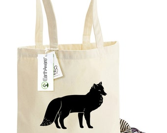 Cheeky French Fox Tote Bag - Le Renard Coquin! -  Bag for Life - 100% Organic Cotton Canvas Tote Shopping Bag, 1003