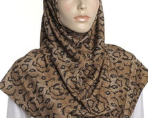 Caramel Snakeskin Print Al Amira Hijab / Ready to Wear Ladies Covering / Gifts For Her / Chemo Head Wrap / Turban / Snood / Bonnet / Cap