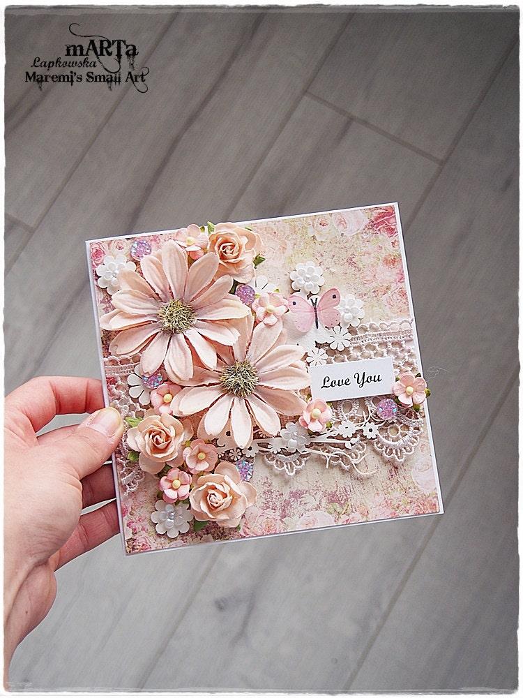 handmade love you card 3d greeting card pinksalmon flower