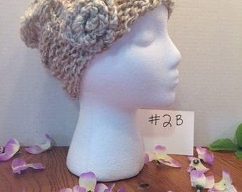 Basket weave Light & Airy Beanie with Flower .