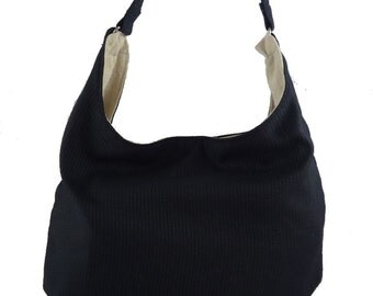 Classic Black, Slouch Bag, Hobo Bag, Purse with Fixed Strap | Sewn By Tanya
