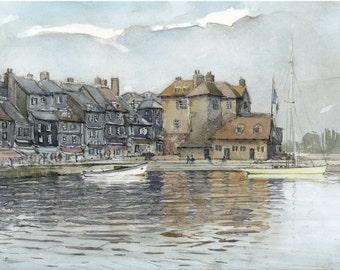 """Honfleur """"old pond"""" watercolor"""
