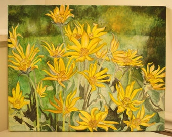 Yellow Daisies - Acrylic on Canvas