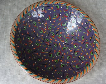Artist Painted Wooden Bowl Signed by the Artist