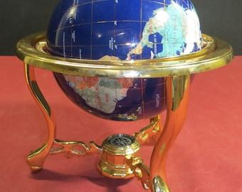 Medium Gemstone World Globe with Tripod Base and Compass