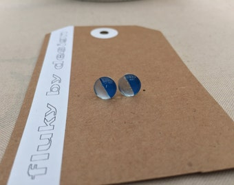 Stud earrings. 8mm. Bold, bright, unique, fun, eye-catching, cute. Silver and blue.