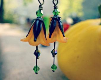 Halloween Earrings - Pumpkin Earrings - Jack O'Lantern - Halloween Party - Orange and Black - Halloween Gift - Autumn Earrings - November.