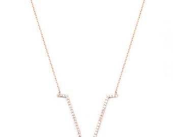 """White V Necklace. 18"""" 925 Sterling Silver with 14K Gold Plated."""