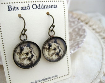Pomeranian Dog Earrings