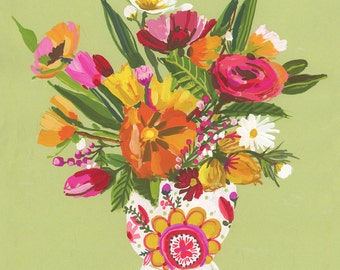 Floral still life on green wall print