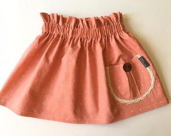 Girls Antique Coral Mini Dot Pocket Skirt, Vintage Style, High Waisted, Spring Skirt, Easter Skirt, Sister Set, Custom