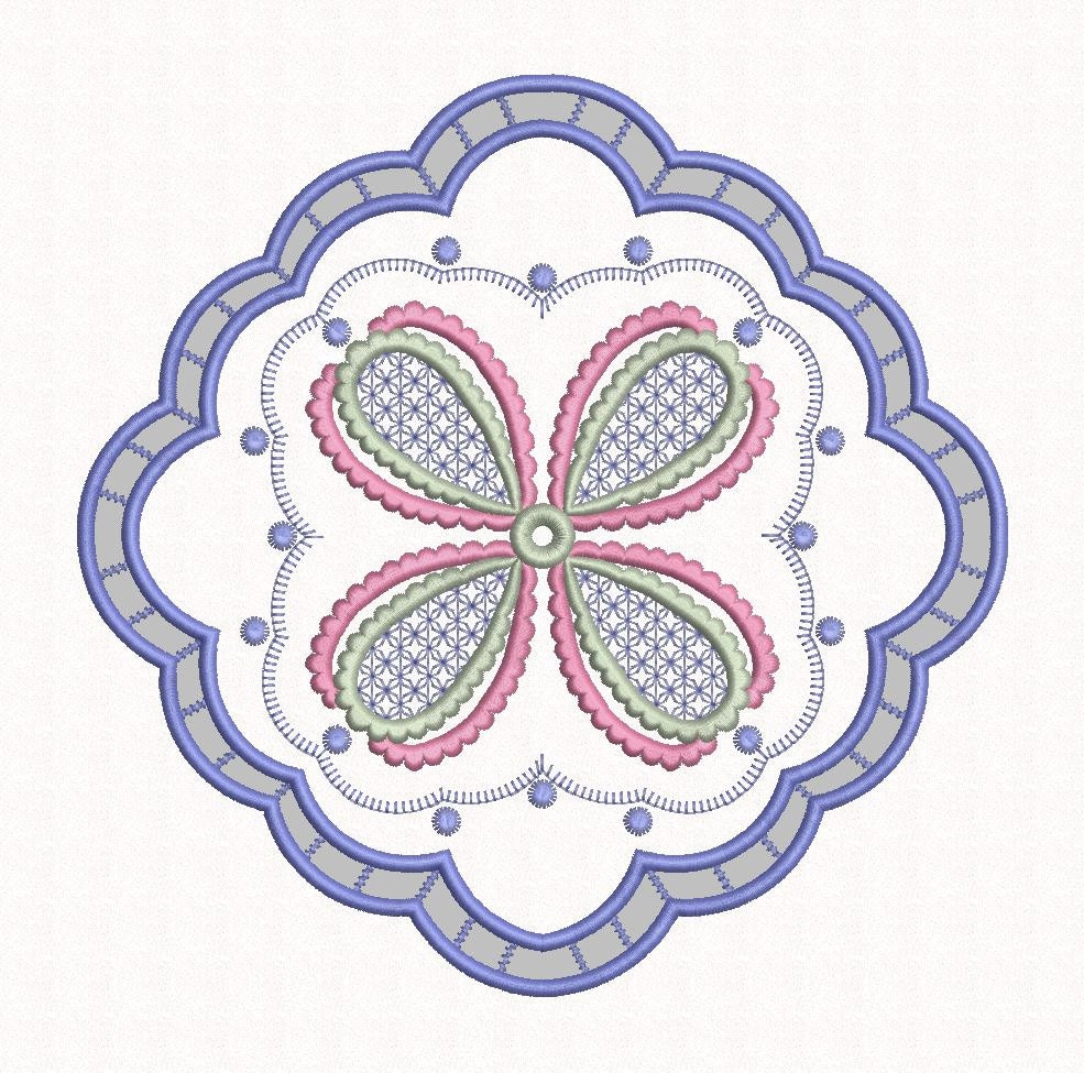 Machine embroidery cutwork designs : Doily design cutwork machine embroidery